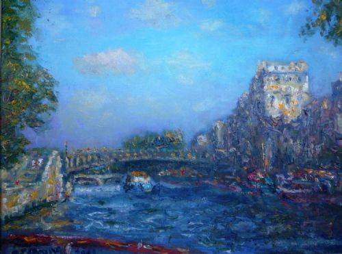 Michael Strang Near Notre Dame oil on canvas painting